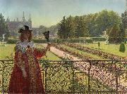 Kristian Zahrtmann Leonora Christina in the garden of Frederiksborg Palace. oil painting