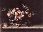 Basket with Peaches and Grapes, Louise Moillon