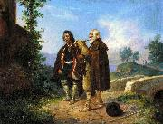Two peasants, one with the bagpipes by a bridge