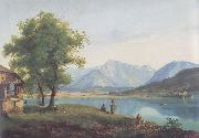 Markus Pernhart Worthersee mit Loretto und dem Ferlacher Horn oil painting reproduction