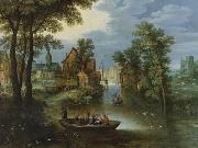 River landscape with religious theme Flight into Egypt