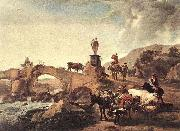 Nicolaes Pietersz. Berchem Italian Landscape with a Small Bridge oil painting reproduction