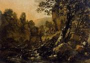 Nicolaes Pietersz. Berchem Herdsmen and Herds at a Waterfall oil painting