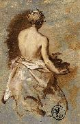 Nicolas Vleughels Young Woman with a Nude Back Presenting a Bowl oil painting reproduction