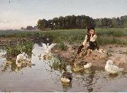 Ukrainian Girl Tending Geese
