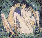 Otto Mueller Three Girls in a Wood oil painting