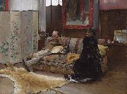 Sulking  Gustave Courtois in his studio
