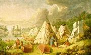 Paul Kane Indian encampment on Lake Huron oil painting reproduction