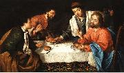 Pier Leone Ghezzi Emmaus, Christ breaking bread oil painting