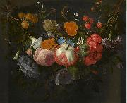 Pieter Gallis A Swag of Flowers Hanging in a Niche oil painting artist