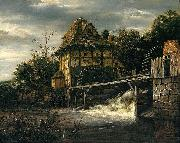 RUISDAEL, Jacob Isaackszon van Two Undershot Watermills with Men Opening a Sluice oil painting reproduction