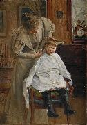 Robert Lundberg Mother cutting the hair oil painting