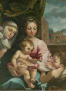 Rutilio Manetti Virgin and Child with the Young Saint John the Baptist and Saint Catherine of Siena oil painting