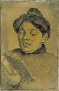 Theo van Doesburg. Portrait of Agnita Feis reading the Bible. 1907