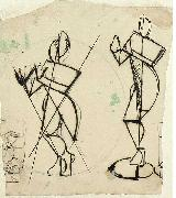Two sketches of Krishna playing a flute, seen from the front.