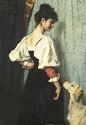 Young Italian woman with a dog called Puck.