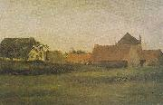 Farmhouses in Loosduinen at The Hague in the dawn, Vincent Van Gogh