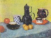 Still life with coffee pot, dishes and fruit, Vincent Van Gogh
