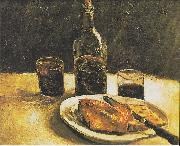 Still life with bottle, two glasses, cheese and bread, Vincent Van Gogh