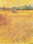 Wheat field with View of Arles, Vincent Van Gogh