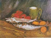 Still Life with mackerel, lemon and tomato, Vincent Van Gogh