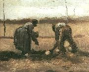 Peasant and Peasant Woman Planting Potatoes. Nuenen, Vincent Van Gogh