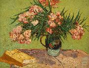 Vincent Van Gogh Vase with Oleanders and Books oil painting on canvas