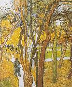 Walkers in the park with falling leaves, Vincent Van Gogh