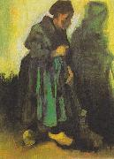 Peasant woman , sweeping the floor, Vincent Van Gogh