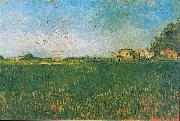 Farmhouses in a Wheat Field near Arles, Vincent Van Gogh