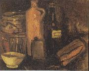 Still-life with earthenware, glass of beer and bottles, Vincent Van Gogh