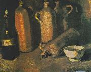 Still life with four jugs, bottles and white bowl, Vincent Van Gogh