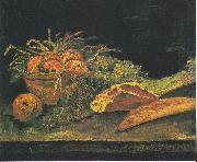 Still life with apple basket, meat and bread rolls, Vincent Van Gogh