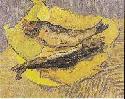 Still Life with smoked herrings on yellow paper, Vincent Van Gogh