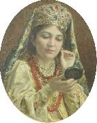 Young Lady Looking into a Mirror