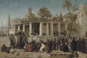 Wilhelm Gentz Crowds Gathering before the Tombs of the Caliphs oil painting