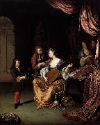 Willem van Mieris The Lute Player oil painting