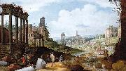 Willem van Nieulandt View of the Forum Romanum. oil painting