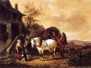 Wouterus Verschuur Waiting before the inn oil painting