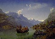 Adolph Tiedeman Brudfarden i Hardanger oil painting on canvas