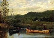 Albert Bierstadt Men in Two Canoes oil painting reproduction