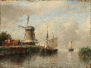 Andreas Schelfhout Dutch boats moored on a river beside a windmill oil painting reproduction