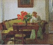 Interior with poppies and reading woman
