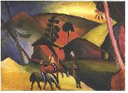 Native Aericans on horses, August Macke