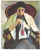 Embroidering woman, August Macke