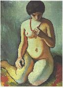 Female nude with coral necklace, August Macke