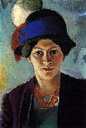 Portrait of the artist's wife with a hat, August Macke
