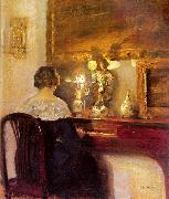 Carl Hessmert A Lady Playing the Spinet oil painting artist