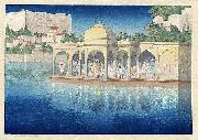 Prayers at Sunset, Udaipur, India, woodblock print by Charles W. Bartlett, 1919, Honolulu Academy of Arts