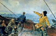 Christian Krohg's painting of Leiv Eiriksson discover America, 1893, Christian Krohg